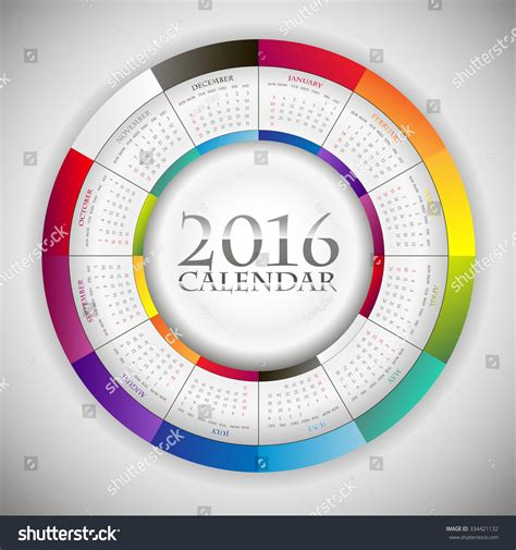 Circle Calendar Template sweet paper calendar 2016 in circle composition original