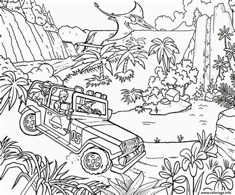 jungle coloring pages for adults coloriage jungle jeep car jurassic park dessin