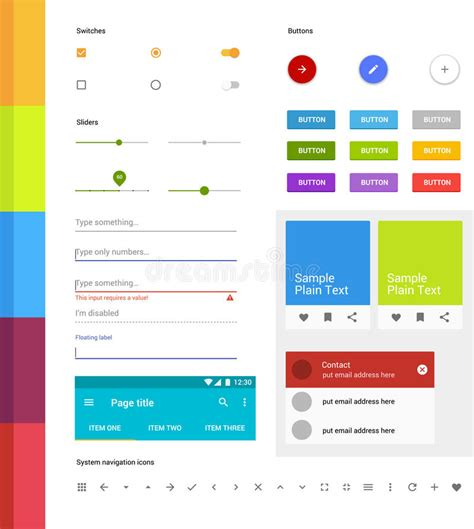 layout elements android material design ui set modern ui elements set of simple