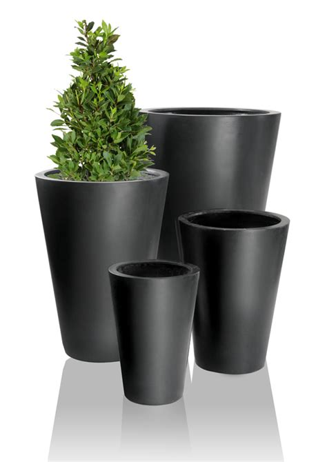 black calgary polystone planters set of 2 h69cm 163