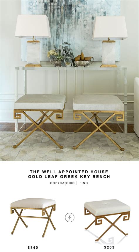 key bench the well appointed house gold leaf greek key bench copy cat chic