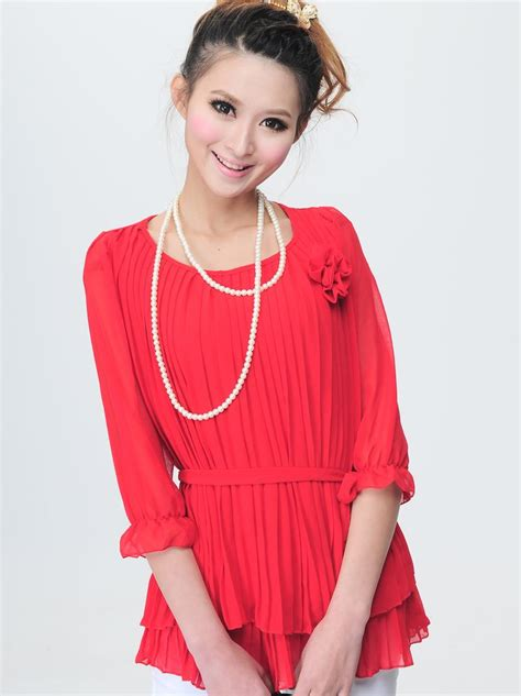 modern fashion color pleated corsage design chiffon blouse