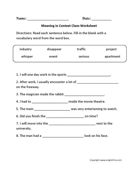 Context Clues Worksheet by Reading Worksheets Context Clues Worksheets
