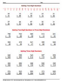 adding two and three digit number worksheets