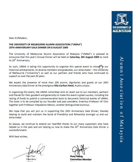 Invitation Letter Unimelb Of Melbourne Alumni Association Malaysia Sponsorship Opportunity For You To Raise