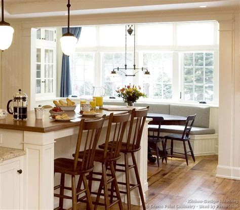 Kitchen Island In Breakfast Nook Pictures Of Kitchens Traditional White Kitchen