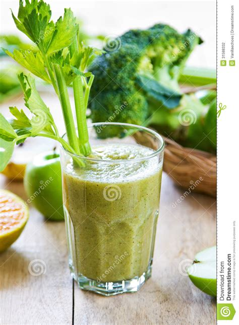 Broccoli Smoothie Detox by Apple With Celery And Broccoli Smoothie Stock Photo