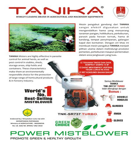 Harga Semprotan Gendong harga jual tanika tnk sr737 turbo mistblower mesin