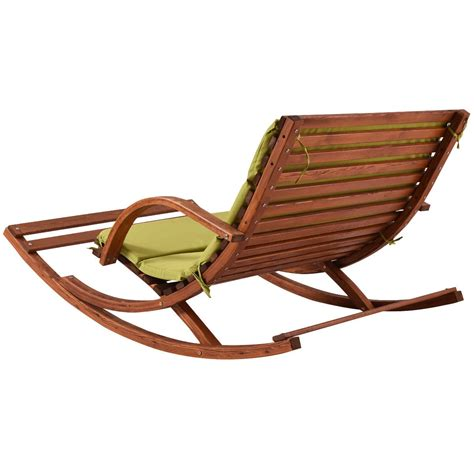 Outdoor Wooden Lounge Chairs by Outdoor 2 Persons Rocking Wooden Lounge Chair With Cushion
