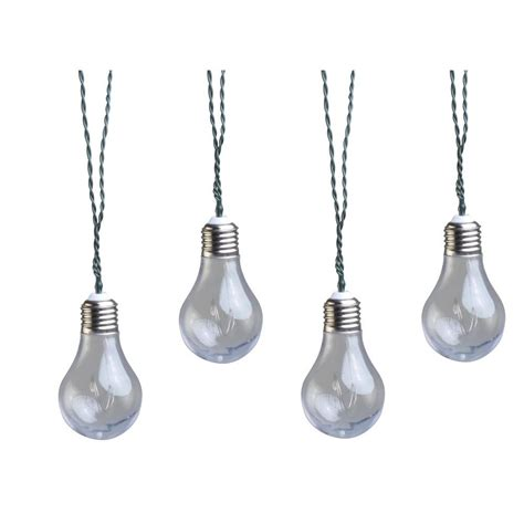 Moonrays Solar Powered Led Clear Vintage Bulb String Light Solar Powered Lights Home Depot