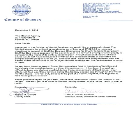 Insurance Agency Thank You Letter county of sussex division of social services thank you