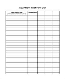 equipment list template equipment inventory list templates 9 free word pdf
