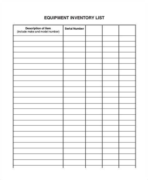blank inventory template equipment inventory list templates 9 free word pdf