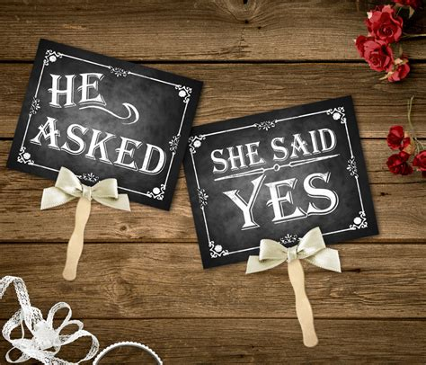 free printable engagement party decorations he asked she said yes printable chalkboard wedding signs