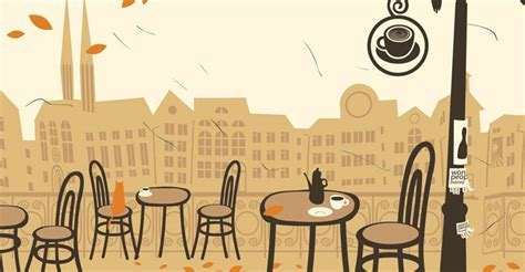 Cafe Scene Wallpaper   Wall Decor