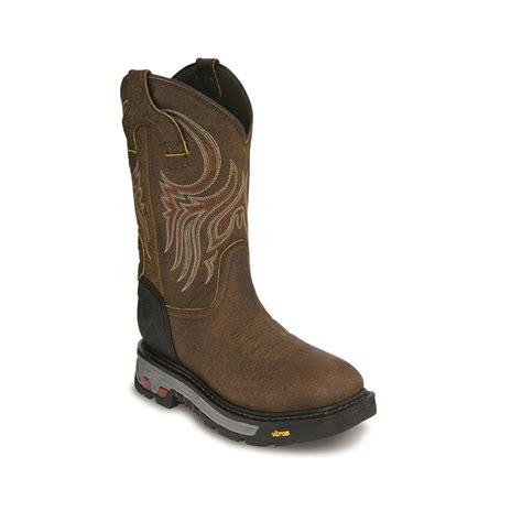 justin pull on work boots justin s commander x5 waterproof 11 quot square toe pull