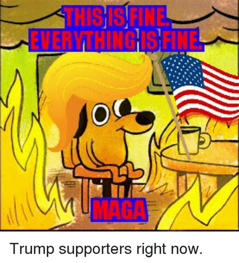Everything Is Fine Meme - everything fine trump supporters right now politics meme on sizzle