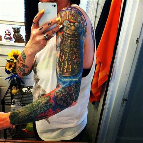 modern age tattoo gorgeous doctor who sleeve ideas