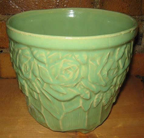 mccoy pottery planters vintage mccoy pottery planter green jardiniere with