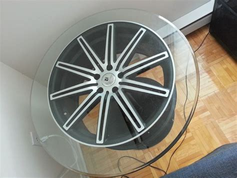 coffee table out of a car wheel