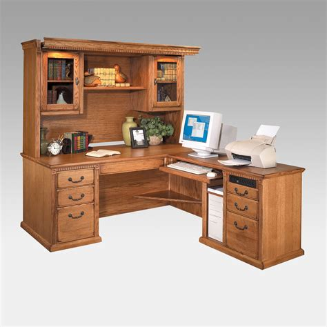 L Shaped Desk And Hutch Kathy Ireland Home By Martin Huntington Oxford L Shaped Desk And Hutch Oak Desks At Hayneedle