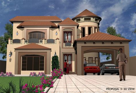 front elevation for house 3d front elevation com 1 kanal 2 kanal 3d house front