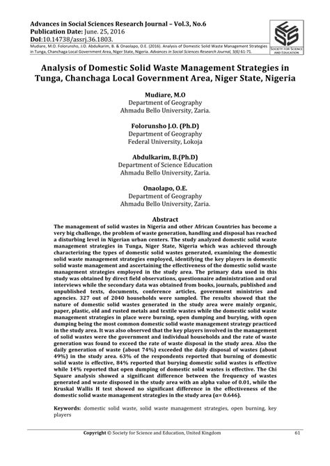 (PDF) ANALYSIS OF DOMESTIC SOLID WASTE MANAGEMENT