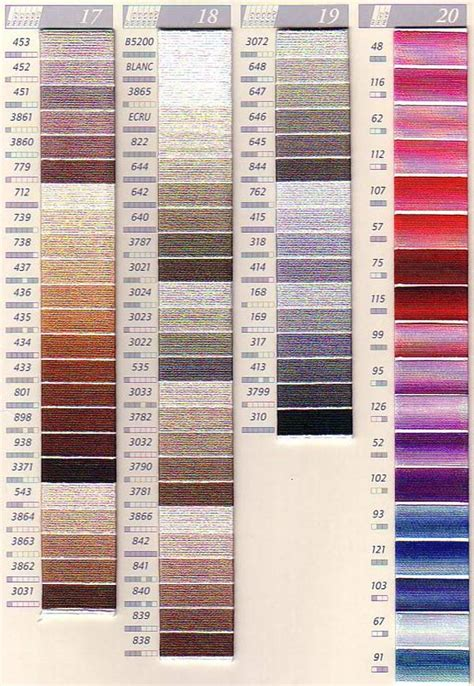 dmc color chart printable dmc color chart complete pictures to pin on