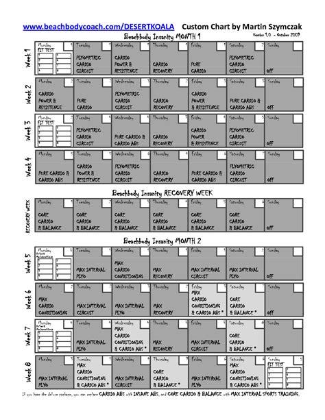printable version of insanity workout calendar 7 best images of printable insanity workout schedule