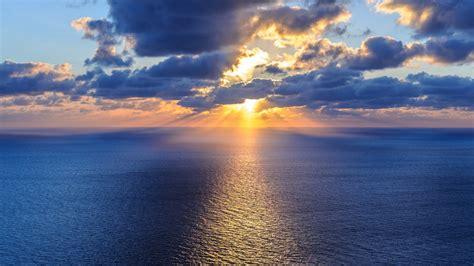 beautiful ocean sky horizon clouds sun water hd