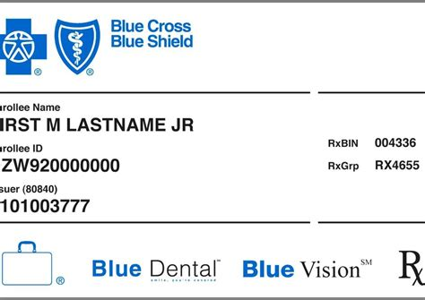 health insurance card template dental and vision blues id card mibluesperspectives