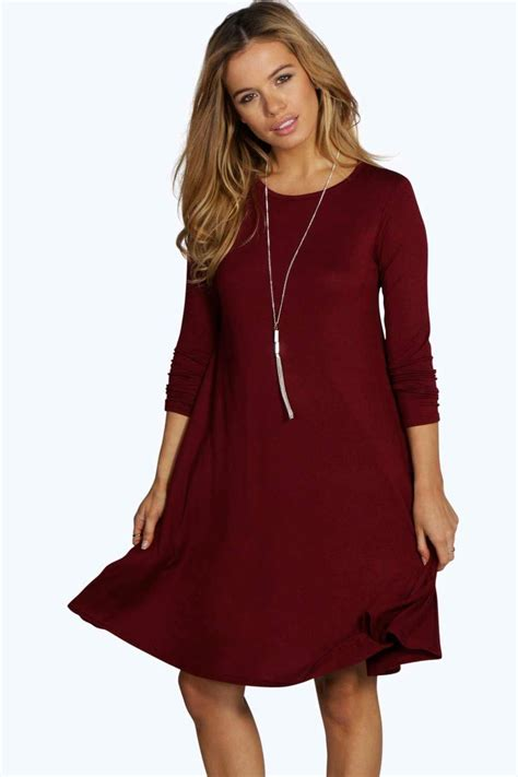 swing dress long sleeve boohoo womens petite april scoop neck long sleeve swing