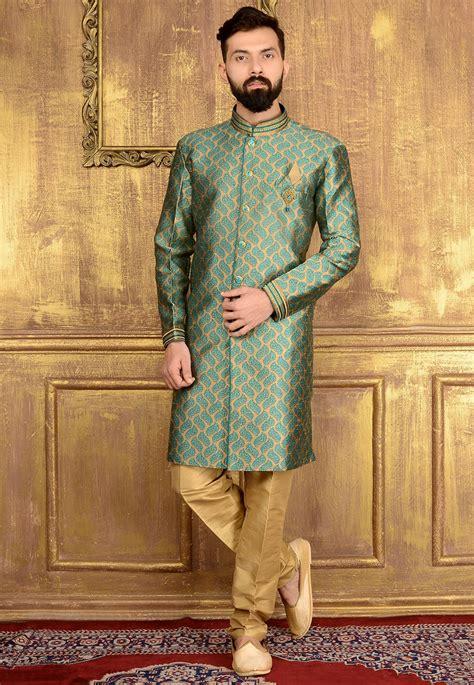 woven brocade silk sherwani  beige mgv