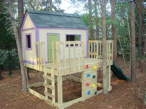 Outside Playhouse Plans White Kid S Playhouse And Slide Diy Projects