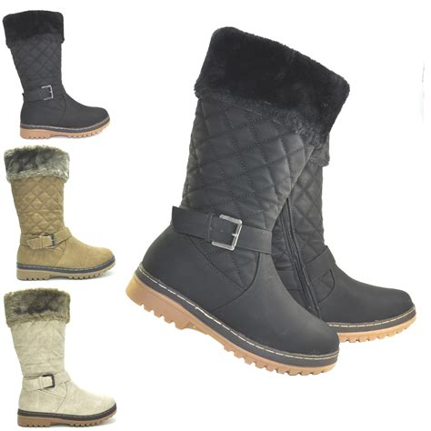 womens faux fur lined quilted grip sole winter calf