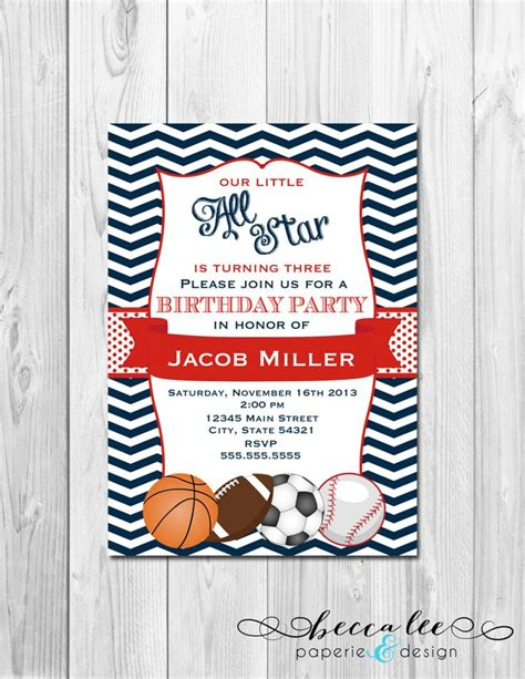 sports themed birthday invitations all star sports birthday party invitation basketball