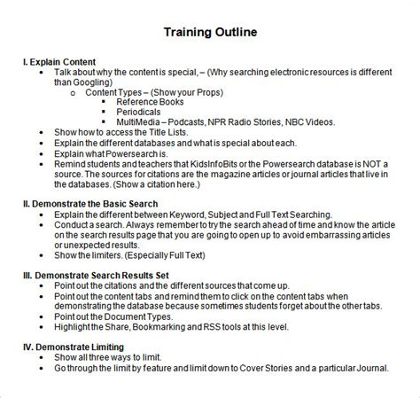 training outline template 9 download free documents in