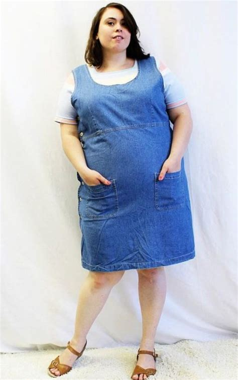 Jumper Denim Dress plus size pinafore dress pluslook eu collection