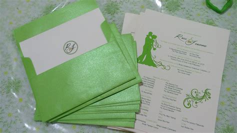 Green Theme Wedding Invitations by Wedding Invitations Apple Green Motif Ronaleer
