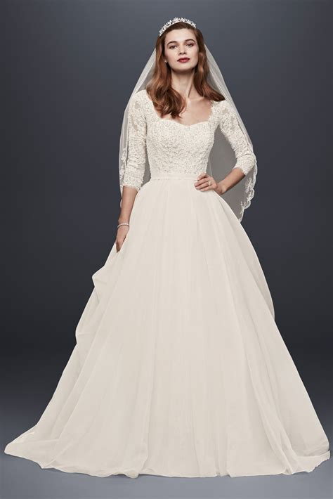 Sleeve Organza Dress classic 3 4 sleeve lace and organza cwg731 style oleg
