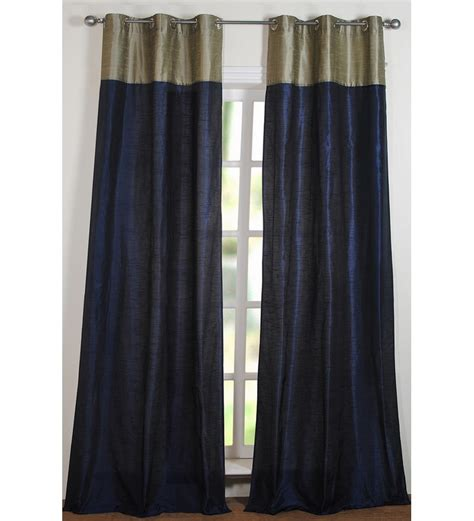 9 ft curtains deco window top band sage navy mix 9ft door curtain by