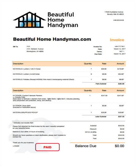 6 Handyman Invoice Template Free Sle Exle Format Download Free Premium Templates Handyman Quote Template
