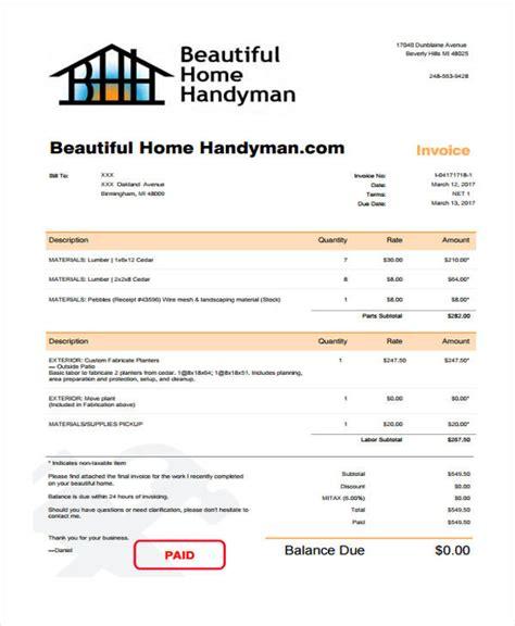 handyman receipt template handyman invoice template emmamcintyrephotography