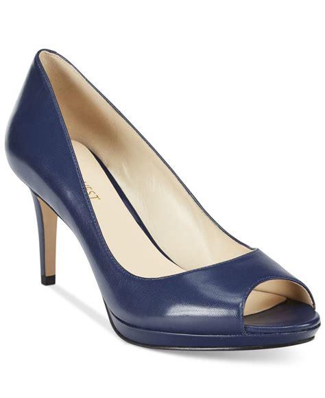 Matilda Navy Leather Stacked Heels nine west gelabelle peep toe pumps in blue black leather