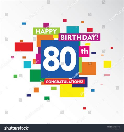 flat colorful abstract square happy birthday stock vector