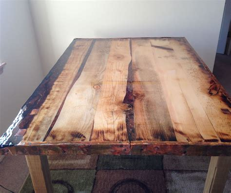 epoxy finished rustic dining table steps instructables
