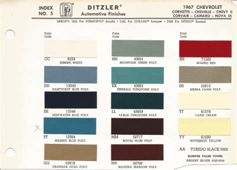 1967 chevrolet impala oem car paint colors