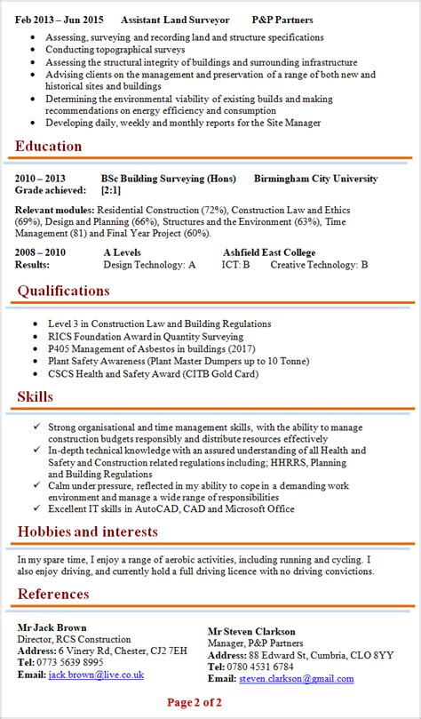 Resume Building Tips Pdf by Building Surveyor Cv Template 2
