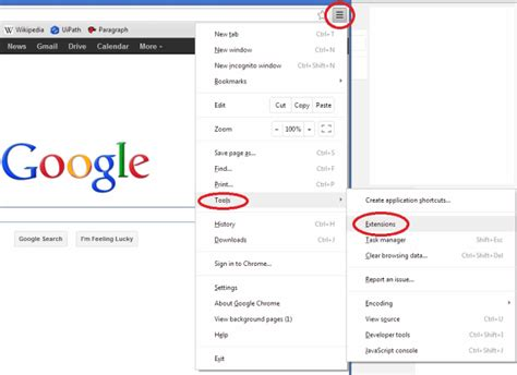 chrome tools where s my google search box bing images