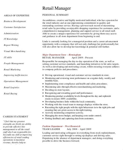 retail manager sle resume free sales resume 47 free word pdf documents